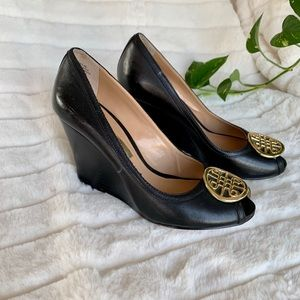 """Black leather 3"""" wedge heels"""